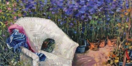 L.Fornasieri, Vimini con fiori blu