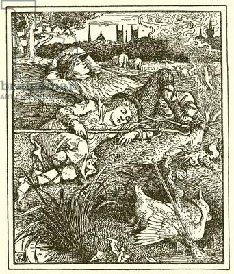 """Walter Crane (1845-1915)  illustrazione per """"Il Razzo Eccezionale"""" di O.Wilde"""