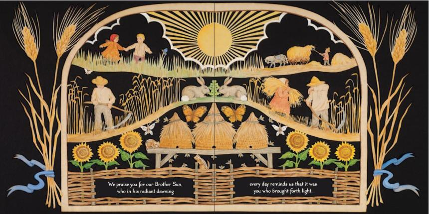 Laudato sie, mi' Signore, cum tucte le tue creature, spetialmente messor lo frate sole, lo qual è iorno, et allumini noi per lui. Et ellu è bellu e radiante cum grande splendore:de te, Altissimo, porta significatione