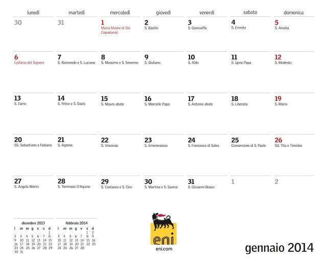 gennaio calendario
