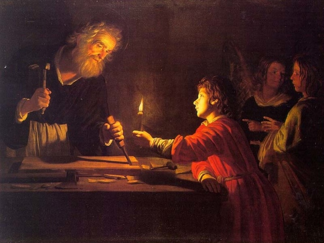 Gerrit van Honthorst,  il Bambino Gesù nella bottega di San Giuseppe