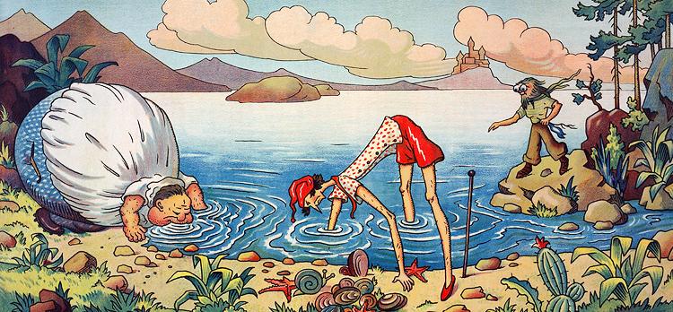 """""""Aspettate, amici, aspettate un po', io vi aiuterò"""" disse il Largo e si gonfiò finché il suo ventre ne fu capace; poi si distese vicino alla riva e bevve. Dopo poco l'acqua si era abbassata e il Lungo poté raggiungere il fondo con facilità e portare su dal mare la conchiglia."""