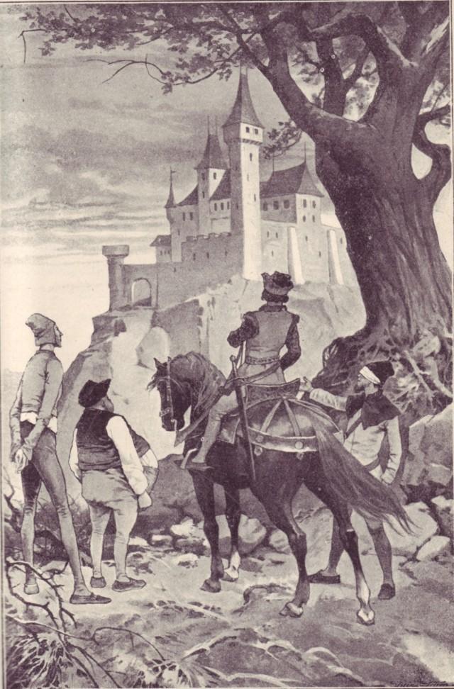 E mentre il sole declinava verso occidente, i monti si facevano più bassi, i boschi diradavano e le rocce si nascondevano tra l'erica; e quando il sole stava per tramontare il principe vide non lontano davanti a sé il castello di ferro; e quando ormai stava tramontando entrò nel portone attraverso un ponte di ferro; e non appena il sole tramontò, il ponte di ferro si sollevò da solo; e tutti i portoni d'un tratto si chiusero e il principe con i suoi tre amici si trovarono prigionieri nel castello di ferro.