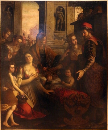 Paolo Camillo Landriani Sant'Ambrogio_e_il_miracolo_delle_api, palazzo_dei_giureconsulti, Milano_01