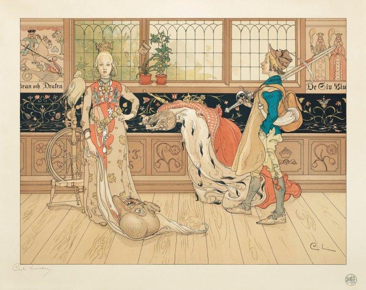 Carl Larsson, Sankt Göran och Prinsessan, 1896. Lithograph